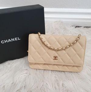 Chanel WOC - beige lambskin w light gold hw